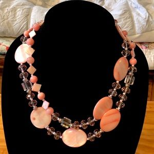 5/$25 Coral Crystal Glass Shell Necklace Stunning